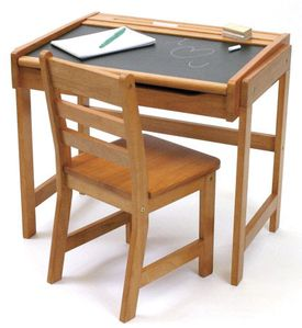 Lipper International Child's Chalkboard Desk and Chair Set - Natural Acacia