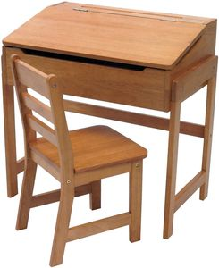 Lipper International Child's Slanted Top Desk & Chair - Pecan