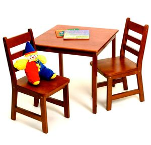 Lipper International Child's Square Table & Chairs, 3-Piece Set - Cherry