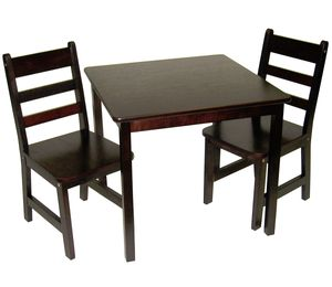 Lipper International Child's Square Table & Chairs, 3-Piece Set - Espresso