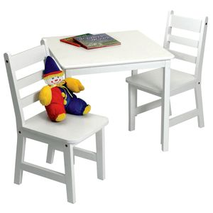 Lipper International Child's Square Table & Chairs, 3-Piece Set - White