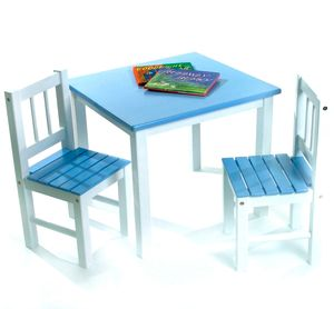 Lipper International Kids' Table & Chair Set in Blue and White - 513BL