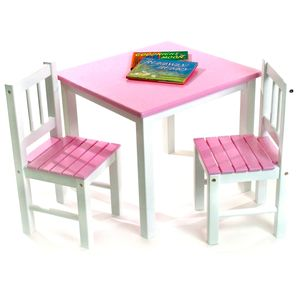 Lipper International Kids' Table & Chair Set in Pink and White - 513PK