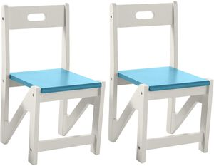 Lipper International Kids' ZigZag Stacking Chairs, Set of 2 - Turquoise