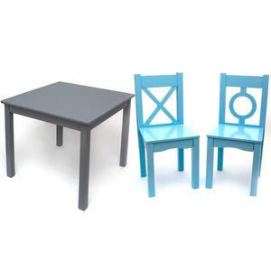 Lipper International Table & Chairs Set - Gray/Blue
