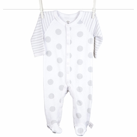 Little Giraffe Lollipop Henley Footie in Silver - 0 to 3 Months