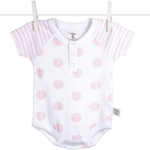 Little Giraffe Lollipop Henley Bodysuit in Pink - 0 to 3 Months