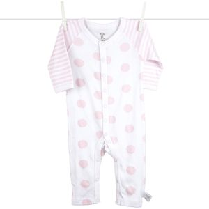 Little Giraffe Lollipop Henley Romper in Pink - 6 to 9 Months