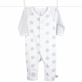 Little Giraffe Lollipop Henley Romper in Silver - 3 to 6 Months