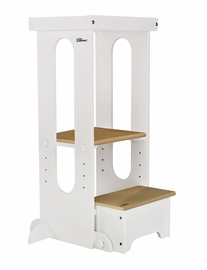 Little Partners Explore N Store Learning Tower - Soft White w/Natural Platform