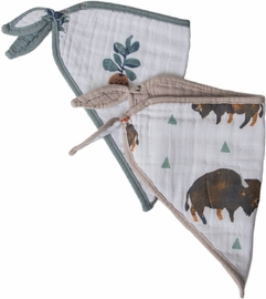 Little Unicorn Cotton Bandana Bib 2-Pack - Bison