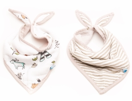 Little Unicorn Cotton Bandana Bib 2-Pack - Forest Friends