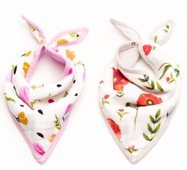 Little Unicorn Cotton Bandana Bib 2-Pack - Summer Poppy