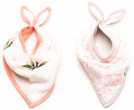 Little Unicorn Cotton Bandana Bib 2-Pack - Watercolor Rose