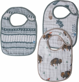 Little Unicorn Cotton Classic Bib 3-Pack - Bison