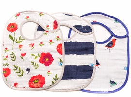 Little Unicorn Cotton Classic Bib 3-Pack - Summer Poppy