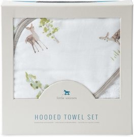 Little Unicorn Cotton Hooded Towel & Washcloth - Oh Deer
