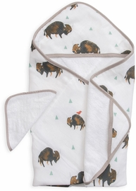 Little Unicorn Cotton Hooded Towel & Washcloth - Bison