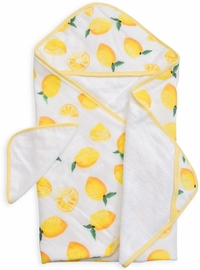 Little Unicorn Cotton Hooded Towel & Washcloth - Lemon