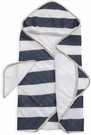Little Unicorn Cotton Hooded Towel & Washcloth - Navy Stripe