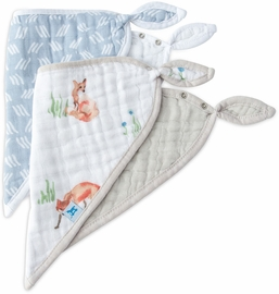 Little Unicorn Cotton Muslin Bandana Bib, 2 Pack - Fox