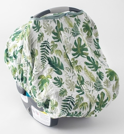 Little Unicorn Cotton Muslin Car Seat Canopy - Tropical Leaf