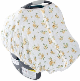 Little Unicorn Cotton Muslin Car Seat Canopy - Yellow Rose