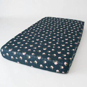 Little Unicorn Cotton Muslin Fitted Crib Sheet - Midnight Rose