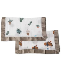 Little Unicorn Cotton Muslin Security Blanket, 2 Pack - Bison + Prickle Pots