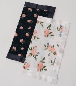 Little Unicorn Cotton Muslin Security Blanket, 2 Pack - Watercolor Roses + Midnight Rose