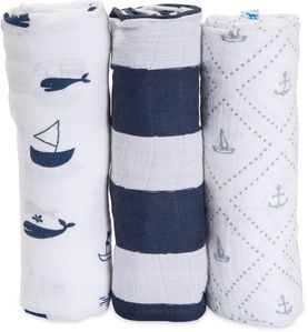 Little Unicorn Cotton Muslin Swaddle 3-Pack - Anchors Aweigh