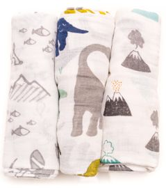 Little Unicorn Cotton Muslin Swaddle 3-Pack - Dino Friends