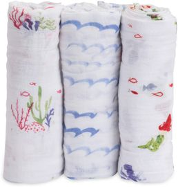 Little Unicorn Cotton Muslin Swaddle 3 Pack - Mermaid Set