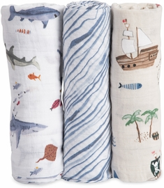 Little Unicorn Cotton Muslin Swaddle 3-Pack - Shark