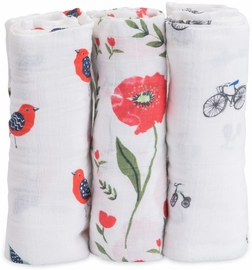 Little Unicorn Cotton Muslin Swaddle 3-Pack - Summer Poppy