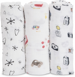 Little Unicorn + The Boss Baby Cotton Muslin Swaddle 3 Pack - Toy Box