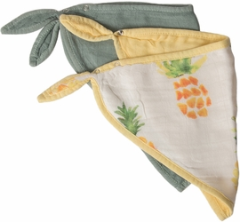 Little Unicorn Deluxe Bandana Bib 2-Pack - Pineapple