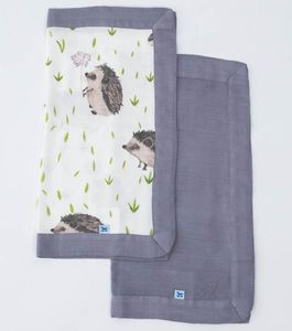 Little Unicorn Deluxe Muslin Security Blanket, 2 Pack - Hedgehog + Charcoal