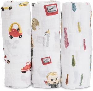 Little Unicorn + The Boss Baby Cotton Muslin Swaddle 3 Pack - Cookies are for Closers