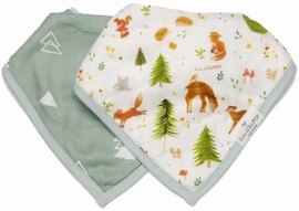 Loulou Lollipop Luxe Muslin Bandana Bib Set - Forest Friends