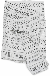 Loulou Lollipop Luxe Muslin Swaddle - Mudcloth White
