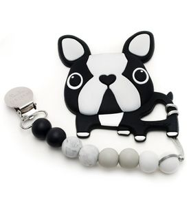 Loulou Lollipop Silicone Teether with Clip - Boston Terrier/Black