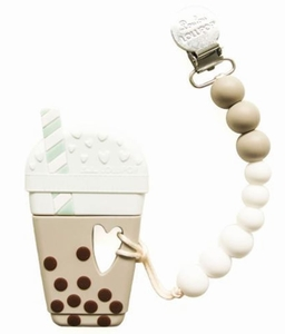 Loulou Lollipop Silicone Teether with Clip - Bubble Milk Tea - Taupe/Brown