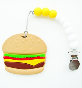 Loulou Lollipop Silicone Teether with Clip - Burger