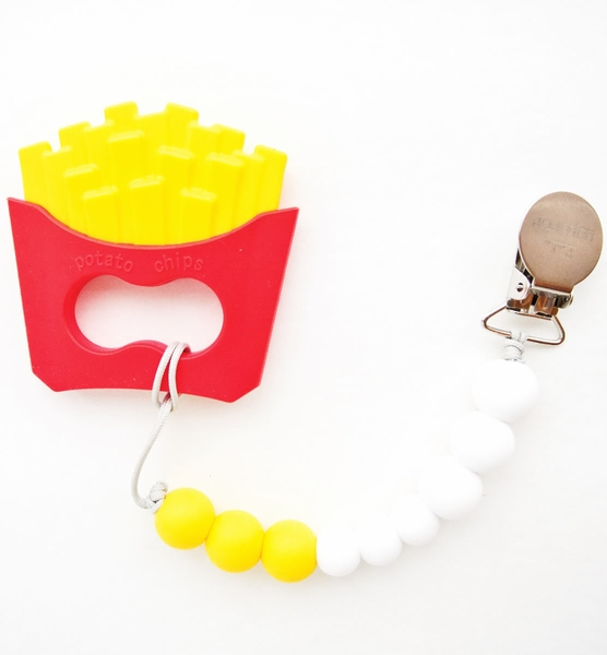 Loulou Lollipop Silicone Teether with Clip - Fries