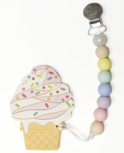 Loulou Lollipop Silicone Teether with Clip - Ice Cream/Strawberry