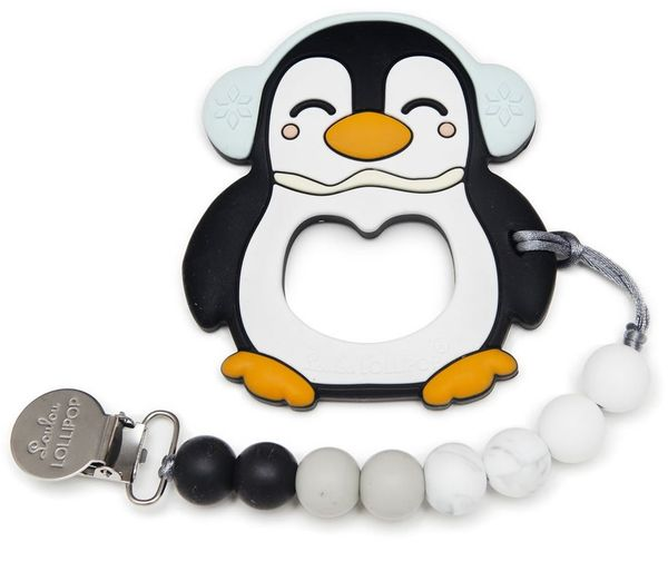Loulou Lollipop Silicone Teether with Clip - Peguin/Black