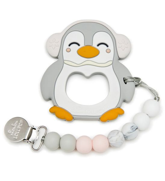 Loulou Lollipop Silicone Teether with Clip - Penguin