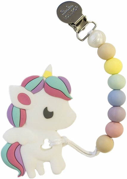 Loulou Lollipop Silicone Teether with Clip - Rainbow Unicorn/Cotton Candy