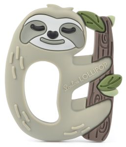 Loulou Lollipop Silicone Teether with Clip - Sloth